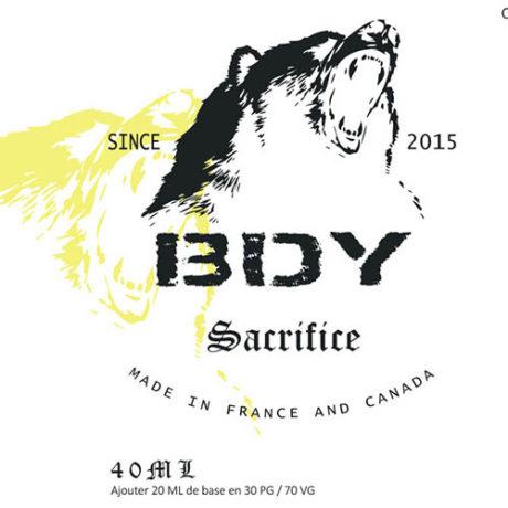 Etiquette e-liquide sacrifice par bdy